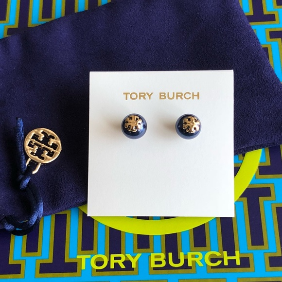 1d927e55698 Tory Burch Jewelry | Dark Blue Pearl Logo Stud Earring | Poshmark
